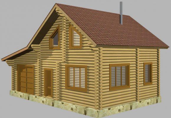 Сруб дома из оцилиндрованного бревна деревянный курган